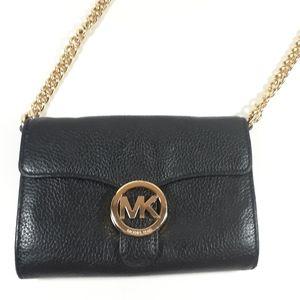 Michael Kors Crossbody Purse Black Leather Bag GUC